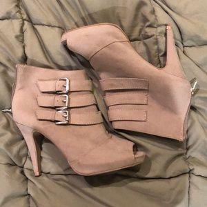 Express tan suede heeled booties